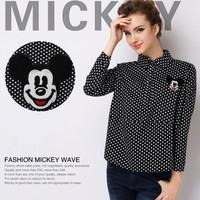 European Blouse 2014 Fashion Shirt New Autumn Shirt Women Long Sleeves Cartoons Shirt With Polka Dots Pattern Printing Blouse