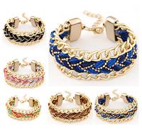 Wholesale Shamballa Bracelet Stylish Candy Color Metal Rope Woven Charm Bracelet Fashion Women Jewelry Accessories,12pcs/lot