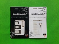 25set/lot(100pcs) 4 in 1 Nano to Micro to Standard Original SIM Card Adapter MicroSIM for iPhone 5/5s 4g 4s for Samsung HTC SONY