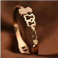 5.8cm Luxury Brand dull polish bear titanium men's vintage jewelry european charm bracelets BR187
