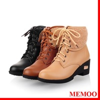 MEMOO 2014 Women Fashion Boots Round Toe Spike Heels  Solid Color  Brown Beige   Black   Rubber  A0701