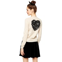 Sweaters Back embroidery lace heart-shaped pattern beige long-sleeved cardigan sweater women sweater