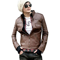 Free Shipping 2014 New Korean Tide Men's Fashion Synthetic Leather Jackets Casual Slim multi Zipper Short Leather Coat for men