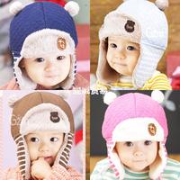 HT-1446  Retail free shipping G letter  baby Bomber hat baby girls  boys winter hats  children's winter hats warm earmuff caps