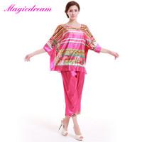 2014 Casual Silk Pajama Ladies Nightwear Suit Autumn Home Clothing Pijamas Femininos Verao Women Stripe Sleepwear Pyjamas Set