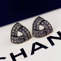 HOT Popular Elegant Female Costume Accessories Irregular Triangle Crystal Rhinestone Stud Earrings Personality Ear Jewelry