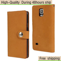 High Quality Matte First Layer Cow Leather Case For Samsung Galaxy Note 4 Free Shipping UPS DHL EMS CPAM HKPAM
