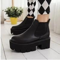 2014 autumn children shoesnew Korean British waterproof Taiwan high heels thick black boots size 35-39 B174