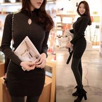 2014 Autumn Winter Woman Dress Black Vestido Elegantes High Collar Dress Slim Bottoming Womens Long Sleeve Dresses