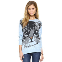 SweatersSweet cat picture prints off the shoulder design Ribbed hem sweater knit sweater