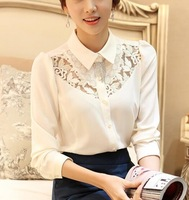 Plus Size Openwork Crochet Korean Elegant Ladies White Chiffon Shirt Blouse Lace Print Long Sleeve Lace Tops Women Shirts Blusas
