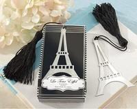 2014 best wedding favor Eiffel tower bookmark with Elegant black tassel wedding party favor guest gift souvenirs keepsakes 100pc