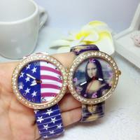 Fashion Quartz Watches Women Mona Lisa Dress Watch Casual Luxury Clock Ladies Wristwatches New 2014 TD0186