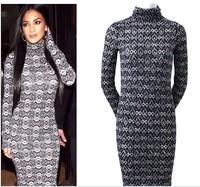 2014 New Fashion Sexy Tight Turtleneck Collar Full Sleeve Long Dress Women Female Slim Office Lady Over Hip Bodycon Gray 31417