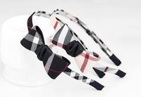24 pcs wholesale free shipping Boutique Korean fabric  Bowknot Hairbands Lattice hairbands plaid headbands
