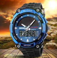 SKMEI Brand Solar energy Watch Men Sports Watches 2 Time Zone Digital Quartz Multifunctional Outdoor Dress Wristwatches 5Colors