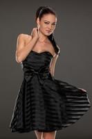 vestidos de menina Blue Ribbon&Mesh Strips Strapless Skater Dress LC21658 vestidos femininos women autumn evening dresses 2014