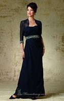 Navy Blue A-line Long Chiffon Evening Dress Vestidos de Noite with Bolero Custom Made XS S M L XL 2XL 3XL 4XL