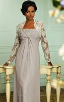 Strapless Long Chiffon Evening Dress Vestidos de Noite with Lace Bolero Custom Made XS S M L XL 2XL 3XL 4XL