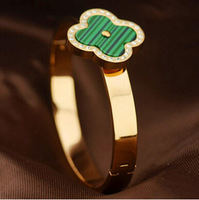 Luxury Brand Malachite clover with rhinestone titanium vintage jewelry european charm fashion men's bracelet Jewelry BR192