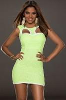 Hollow Out Fluorescent Green Fully Lined Lace Bodycon Dress LC21660 saias femininas 2014 vestido de festa curto Tank Dresses