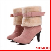 MEMOO Women's snow Boots cuty  Solid Color Platforms Flat  Waterproof Thin heels High heel Flowers Winter  Size34-43 A1651