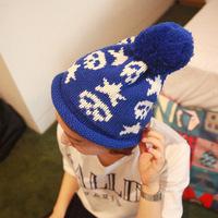 New winter wholesale edge  knitted hand hook skull cap for girl