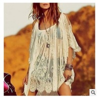 2014 New Sexy Lace Dress Floral Casual White Crochet Strap Off Shoulder Summer Beach Dresses, Vestidos Femininos Beach Wear
