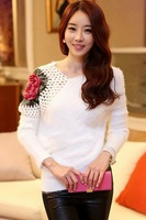 Winter 2014 Fashion Long Sleeve Loose Warm Shoulder Hollow Rose White Crochet Sweater LC27535 women's knitwear sweater Cardigans