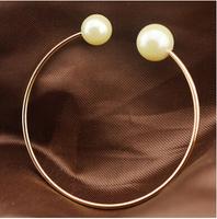316 Titanium Steel brand freshwater pearl rose gold plated charm bear open bracelet & bangle for women BR413