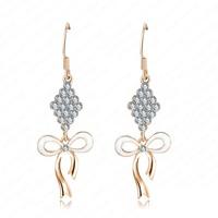 Free Shipping  Cute Bowknot Ear Earrings Wholesale 18K Gold Plate Crystal Women Earrings ER0085-C