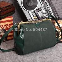 England Style Lady's Shoudler Vintage Messenger Bag Free Shipping 2014 New Autumn Dark Green Black 21217