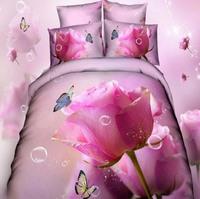 unique pink rose 3d bedding set  vivid print 3d bedclothes comforter/duvet/quilt cover bedsheet pillowcase set 100% cotton B3023