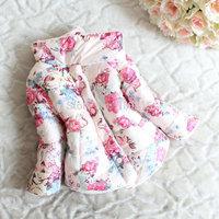 Korean Retail girls winter coat thicker Fleece cotton flower down jacket children winter coat Free Shipping