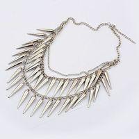 Min. Order $8.8(Mix Orders) Hot Sale 2014 New Women Fashion Cone Spike Stud Revit Pendant Retro Vintage Punk Necklaces FN0118