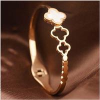 316 Titanium Steel brand white and black clover rose gold plated clover european charm bracelet & bangle for women BR416