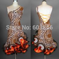 professional Latin dance skirt adult performance tassel dance wear competition clothing leopard velvet  ballroom dance dress