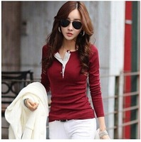 2014 Hot Sale Women Patchwork T-shirt Fashion  Casual Long Sleeve T-shirt Korean Types Tees Tops YS8663
