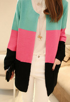 2014 spring new Korean long sweater shawl loose long-sleeved striped sweater