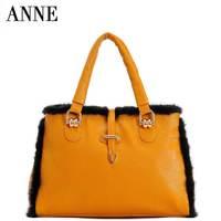 2014 new plush leather handbag shoulder bag diagonal handbags real mink packet header layer