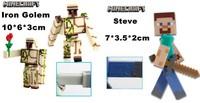 2014 New Hot Minecraft Micro World Toys Steve Iron Golem 2pcs./Set PVC Action Figures Free Shipping