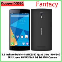"Original DOOGEE KISSME DG580 Android 4.4 5.5"" Inch MTK6582 Quad Core mobile Smart Phone 3G 1GB RAM 8GB ROM 8MP WCDMA/Kate"