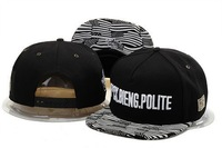 Free Shipping! New styles, FUCK BIENG POLITE Snapback Gorras, Black and White Two Color with US Flag On Visior Snapback Hats