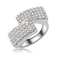 Simple Style Clear Full Rhinestone Ring Platinum Plating Silver Ring SWA Elements Austrian Crystal Rings Jewellery Ri-HQ0033