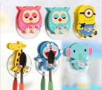 very cute Cartoon sucker toothbrush holder / suction hooks /household items /toothbrush rack/bathroom set 5pcs/lot