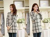 2014 new Korean version of Women Autumn burst knit cardigan sweater coat long plaid sweater pocket