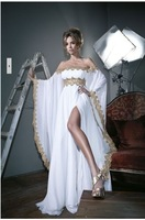 2014 A-line New Sexy Scoop Off the Shoulder Lace Long Sleeve Split Crystals  Floor Length Prom Dresses Party Evening Gowns