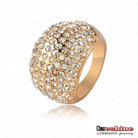 Shiny Costume Jewelry Rings 18K Gold Plated Austrian Crystal SWA Element Exaggerated Ring 28*14mm Ri-HQ0248