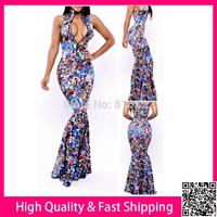 Deep V Sexy Vestidos Floor Lengh Women Dress Flower Print Maxi Dress Long Bodycon Party Evening Dresses Free Shipping