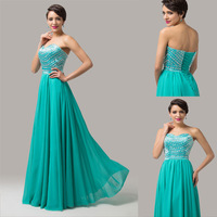 Strapless Sweetheart Chiffon Light Sea Green Prom Dresses Long Sequins Evening Gown CL6164Y